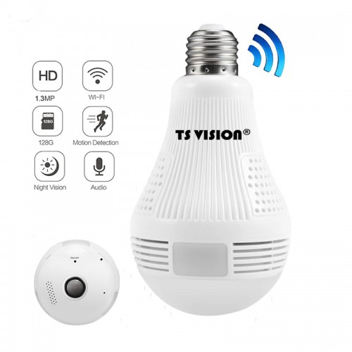 IP, wireless (WIFI) camcorder, 360˚ panoramic, 1.3 MP bulb type