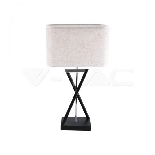 Designer Table Lamp E27 Ivory Shade Black Base Switch Square