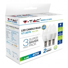 LED Bulb - 5.5W E14 Candle 2700K  3 PCS/PACK