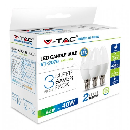 LED Bulb - 5.5W E14 Candle 2700K  3 PCS/PACK