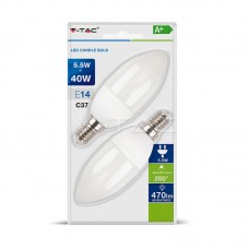 LED Bulb - 5.5W E14 Candle 2700K  2 PCS/Blister