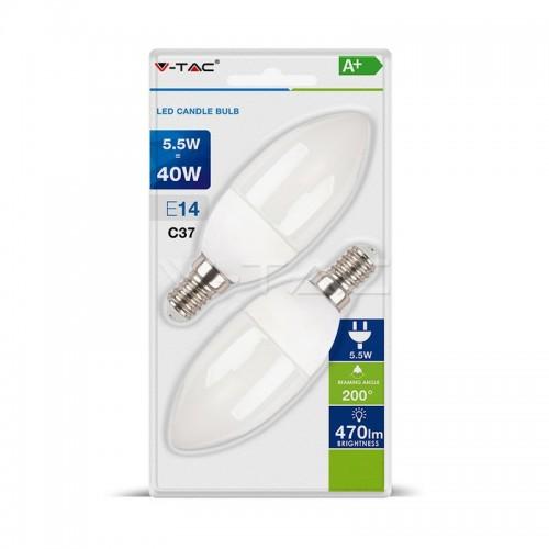 LED Bulb - 5.5W E14 Candle 2700K  2 PCS/Blister