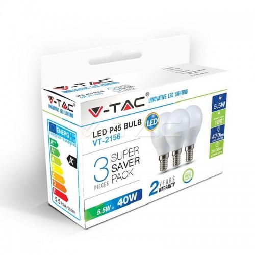 LED Bulb - 5.5W E14 P45 2700K 3PCS/PACK