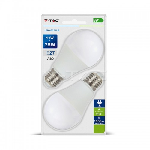 LED Bulb - 11W E27 A60 Thermoplastic 2700K 2PCS/Blister Pack