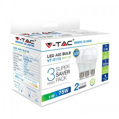 LED Bulb - 11W E27 A60 Thermoplastic 2700K 3PCS/PACK