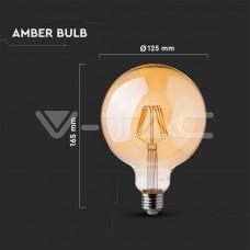 LED Bulb - 6W  Filament E27 G125 Amber Glass 2200K