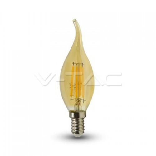 LED Bulb - 4W Filament  E14 Candle Amber Cover Tail 2200K