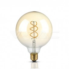 LED Bulb - 5W Filament  E27 G125 Amber Glass 2200K Dimmable