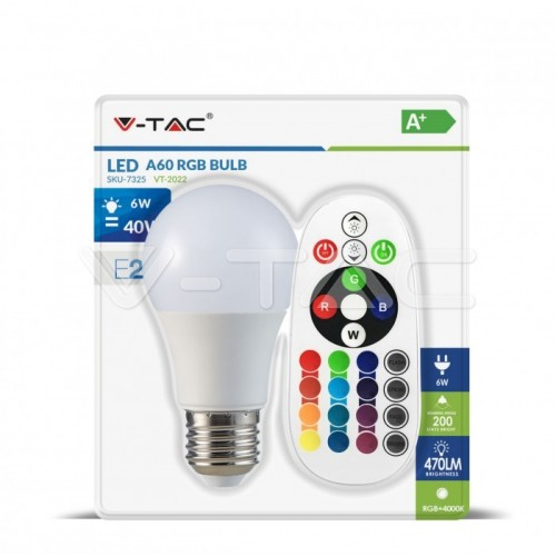 LED Bulb - 6W E27 A60 RGB With Remote Control 6400K Blister Pack