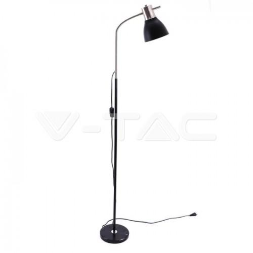 Designer Floor Lamp With Black Metal Base + Switch E27 Holder Black +Chrome