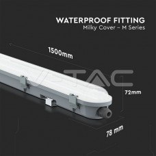LED Waterproof Fitting M-SERIES 1500mm 48W 6400K Milky Cover 120LM/W