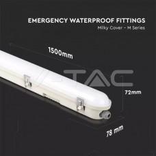 LED Waterproof Fitting M-SERIES 1500mm 48W 6400K Emergency Kit PC/PC SS Clip 120LM/W
