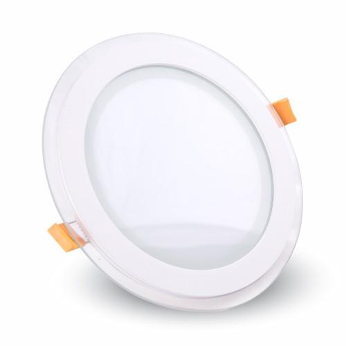 12W LED Panel Glass Round Natural White