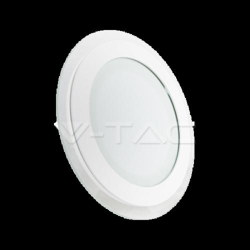 12W LED Panel Glass Round Warm White