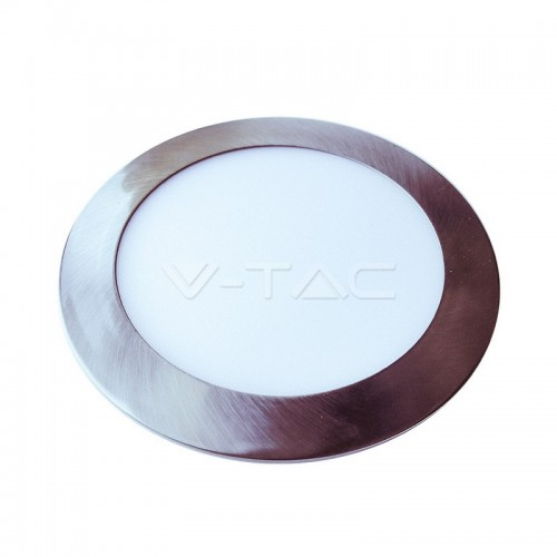 12W LED Panel Slim Satin Nickel Round Natural White