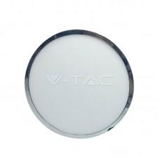 12W LED Panel Surface Slim Chrome Round White