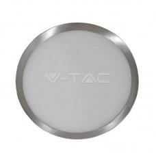 12W LED Panel Surface Slim Satin Nickel Round Natural White