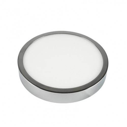 12W LED Surface Panel Light Chrome Round 3000K