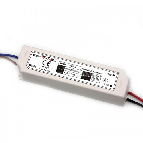 LED Plastic SLIM Power Supply - 75W 12V IP67