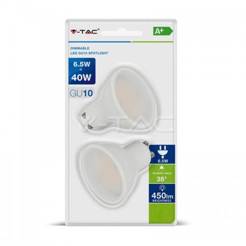 LED Spotlight 6.5W GU10 White Plastic Lens 3000K Dimmable 2pcs/Blister