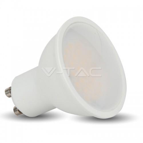 LED Spotlight - 6W GU10 SMD White Plastic Milky Cover 3000K
