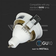 GU10/GU5.3(MR16) Fitting White+Gold Round VT-872