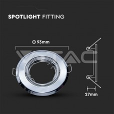 GU10/GU5.3(MR16) Round Spotlight Fitting Chome 2 pcs/box Ф93