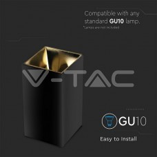 GU10/GU5.3(MR16) Fitting Square Black + Gold