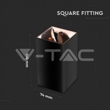 GU10/GU5.3(MR16) Fitting Square Black + Rose Gold