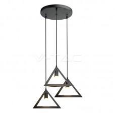 Trio Geometric Black Pendant Light E27 Black Canopy
