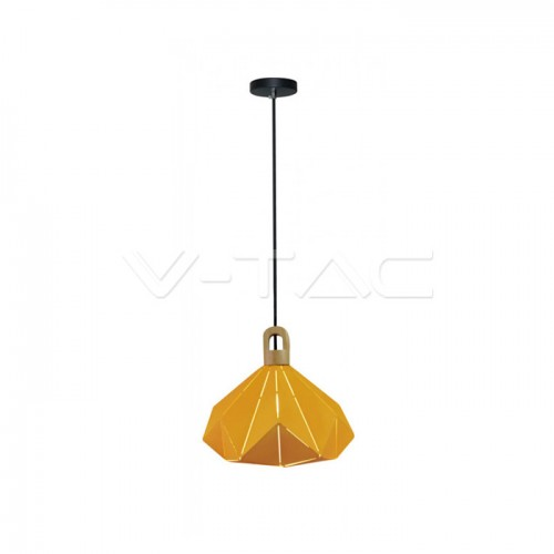 Pendant Light Pastel Wooden Prism Yellow 320 x 270 mm