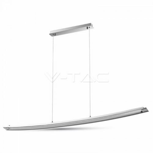 18W Designer Bend Glass Pendant Light Chrome Natural White