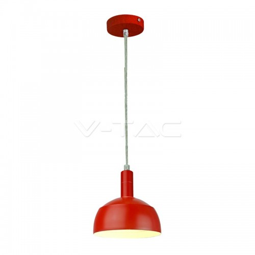Plastic Pendant Lamp Holder E14 Slide Aluminium Shade Red