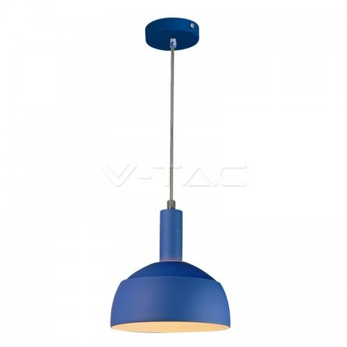 Plastic Pendant Lamp Holder E14 Slide Aluminium Shade Blue