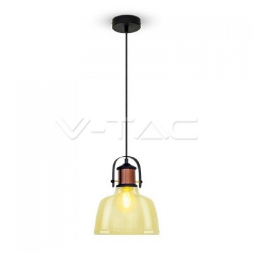 Glass Shade Amber Pendant Light Black Fabric Wire