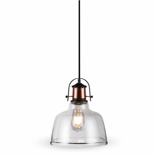 Glass Pendant Light Transparent Black Canopy