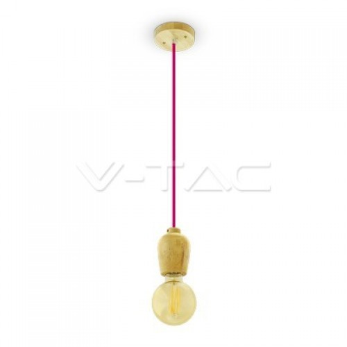 Wooden Pendant Light Red Wire