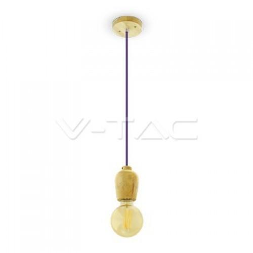 Wooden Pendant Light Purple Wire