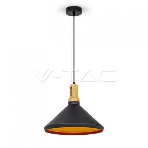 Modern Pendant Light Long Black Wooden Top