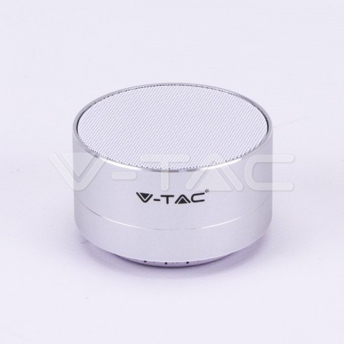 Metal Bluetooth Speaker With Mic & TF Card Slot 400mah Battery Silver