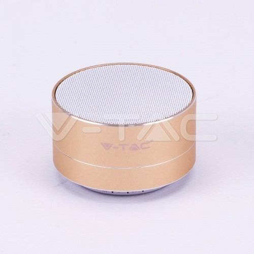 Metal Bluetooth Speaker With Mic & TF Card Slot 400mah Battery Gold