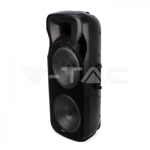 150W Rechargeable Trolley Speaker With One Wireless + One Wired Microphone RF Control RGB 2*15 inch