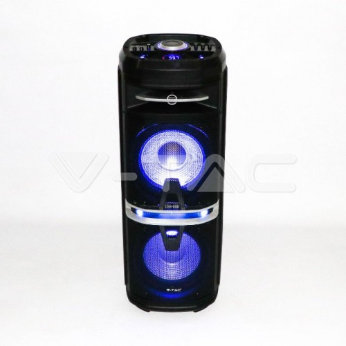 120W Rechargeable Trolley Speaker With One Wireless + One Wired Microphone RF Control RGB 2*10 inch