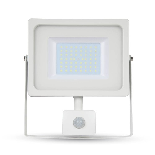 50W LED SMD Floodlight Sensor White Body White