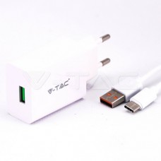Fast Charging Set With Travel Adapter & Type-C USB Cable White