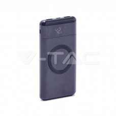 10000 mAh Wireless Power Bank Dual USB+Type C LED Screen Black