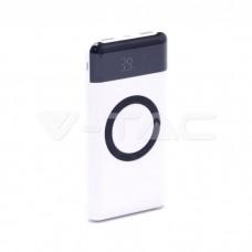10000 mAh Wireless Power Bank Dual USB+Type C LED Screen White