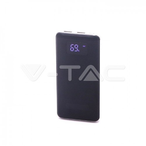 10000 mAh Power Bank Dual USB Display Leather Chrome Finish Black